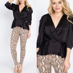 Black Satin surplice front wrap party blouse top